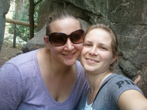 Dr. C and her sister at the Zoo in San Antonio, Texas.